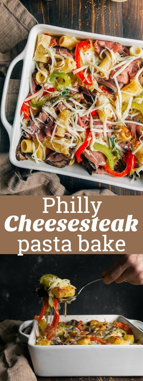 Philly Cheesesteak Pasta Recipe: baked rigatoni in provolone cheese sauce with peppers, onions, and steak. Baked pasta recipe for two.