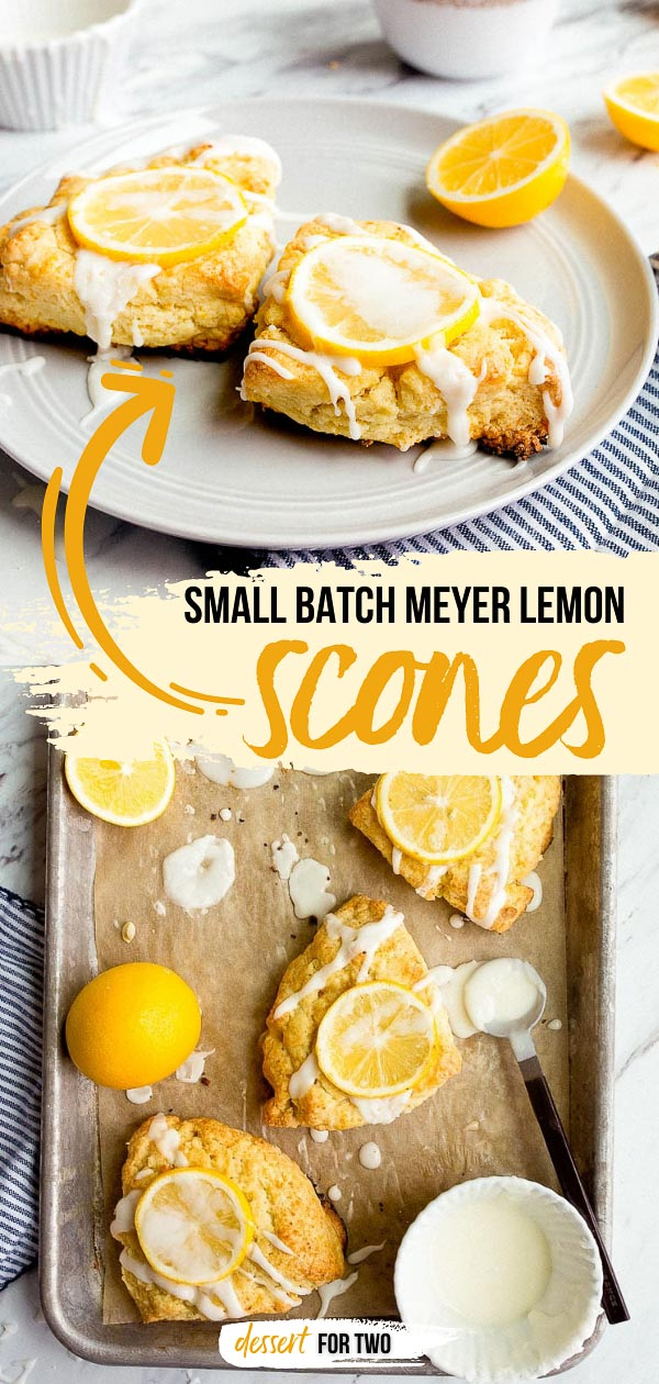 Small batch Meyer lemon scones for two. Small batch scone recipe for two. Cream scones recipe for two. Lemon recipes and Meyer lemon recipes.