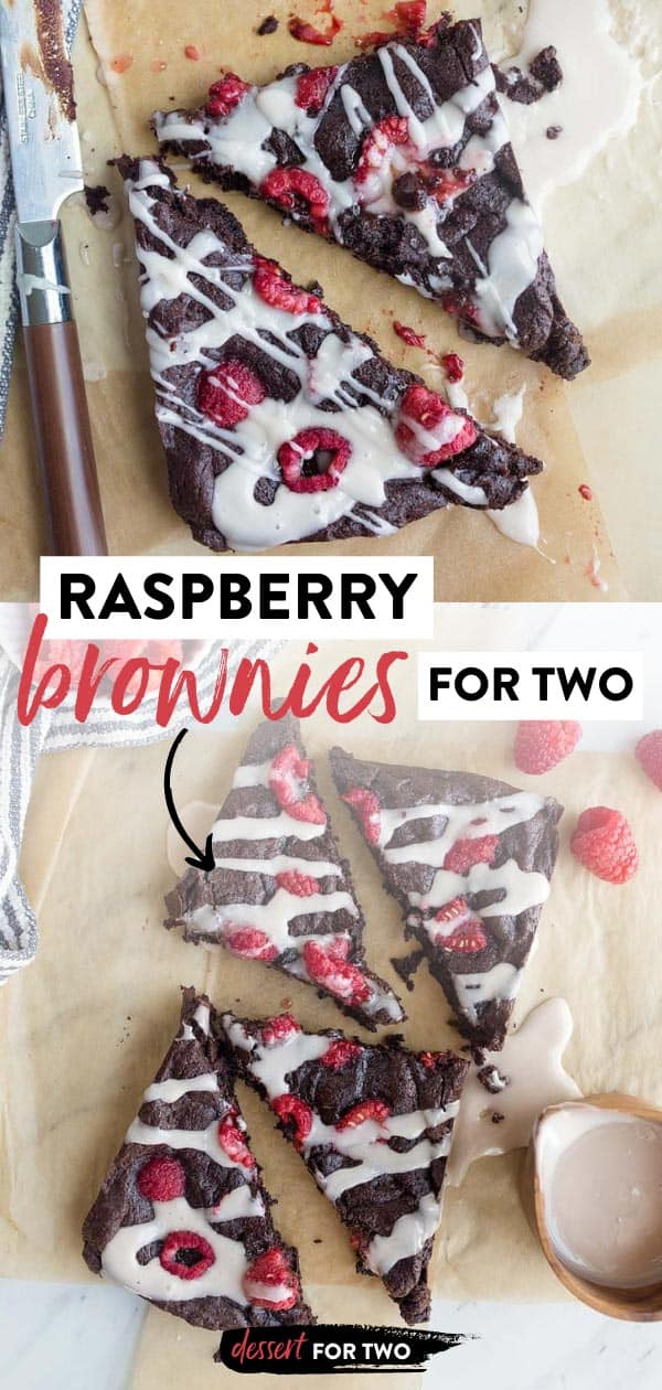 Raspberry brownies for two. Small batch brownies for two. Raspberry dessert recipe. Chocolate desserts for two. Valentine's Day chocolate dessert for two with fresh raspberries. #valentinesday