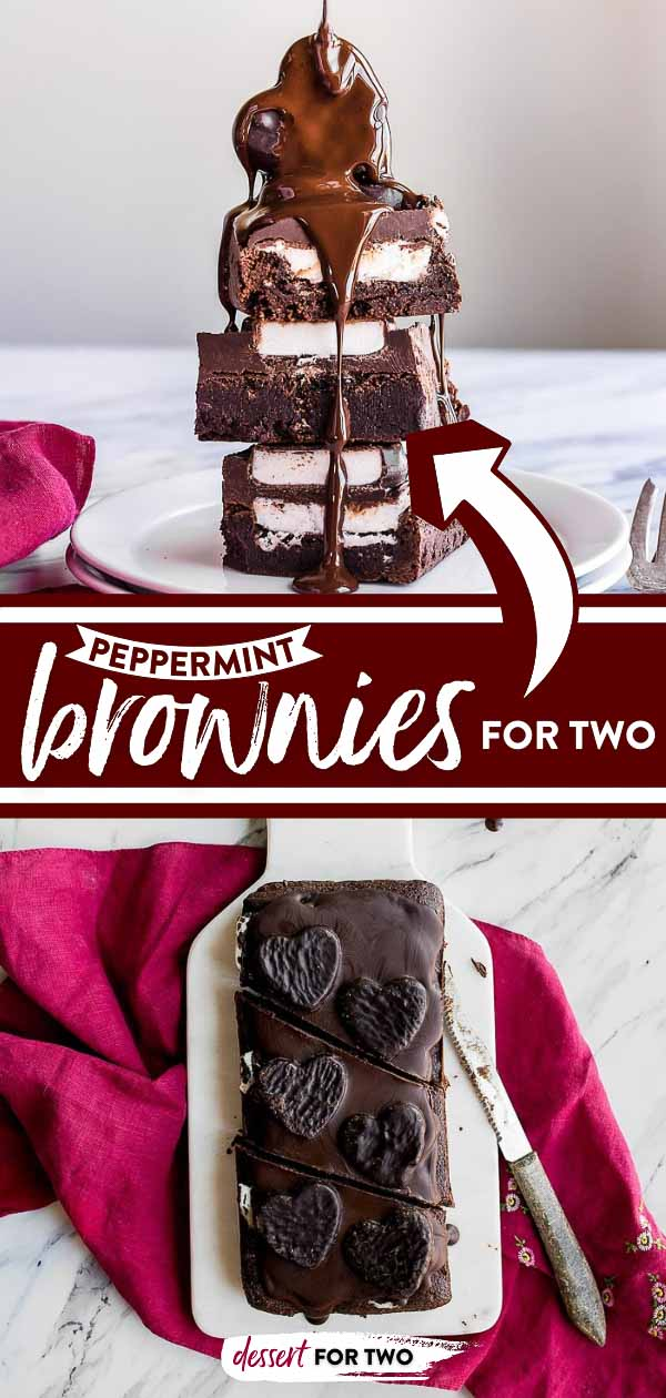 Peppermint Brownies for Two. Peppermint patty brownies for two. Small batch brownies with peppermint patties. Brownies in a loaf pan. Chocolate desserts for two.
