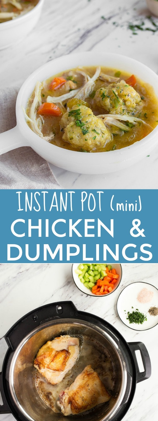 Instant Pot Chicken and Dumplings for Two in the Instant Pot Mini. Instant Pot Chicken recipes. Instant Pot Mini 3 quart recipes for two.