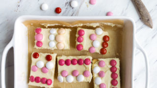 M&M Cookie Bars for Valentine's Day