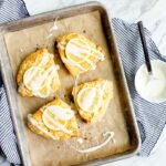 Small Batch Meyer Lemon Scones for Two. Lemon scone recipe that makes 4 scones. Small batch scones!