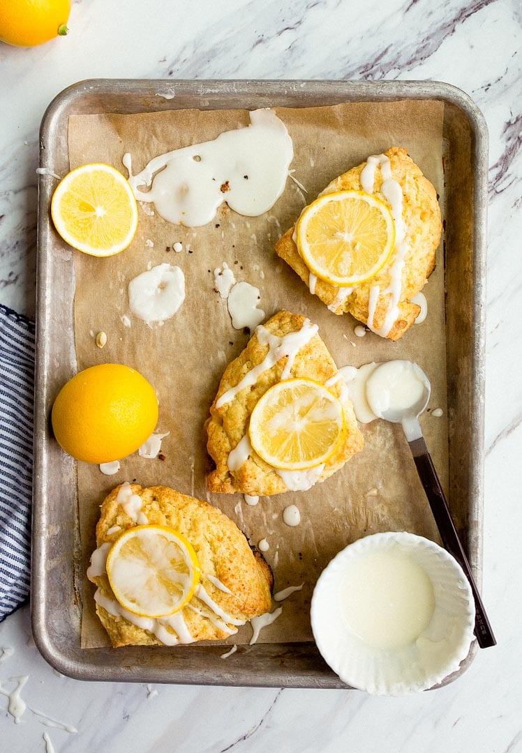 Small Batch Meyer Lemon Scones for Two. Lemon scone recipe that makes 4 scones. Small batch scones!