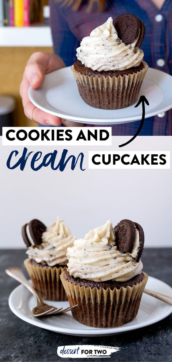 Cookies and Cream Cupcakes, aka Oreo Cupcakes for two with creamy Oreo buttercream frosting. Recipe for a small batch of chocolate cupcakes makes just 4 cupcakes.