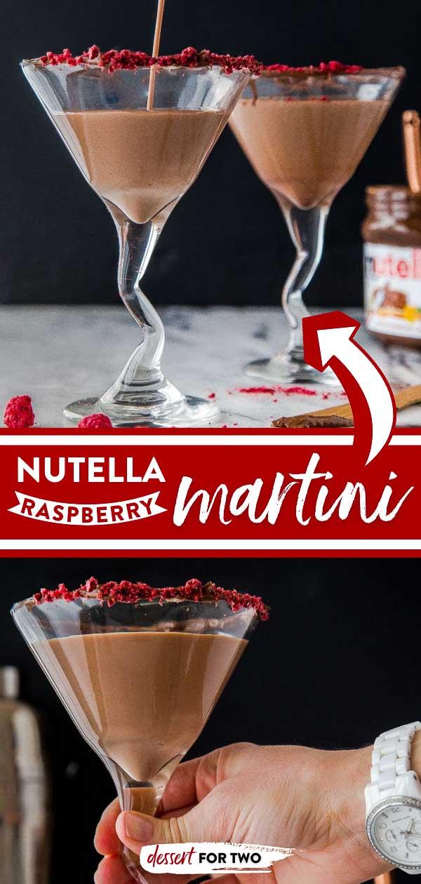 Nutella chocolate raspberry martini in martini glasses.