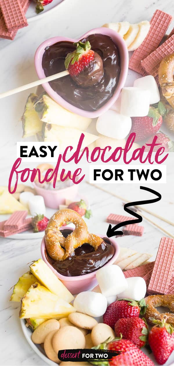 Easy Chocolate Fondue for Two. Perfect chocolate fondue made with just two ingredients. Perfect Valentine's Day dessert for two. Valentines Day chocolate desserts for two.