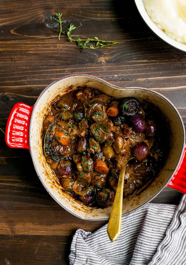 Beef Bourguignon Recipe for Two people. Romantic dinner for two for Valentine's Day. Make ahead romantic dinners. Julia Child's Beef Bourguignon for Two.