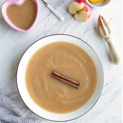 Instant Pot Applesauce recipe is so easy and perfect for kids or baby food apple puree! Just 5 minutes on high pressure.