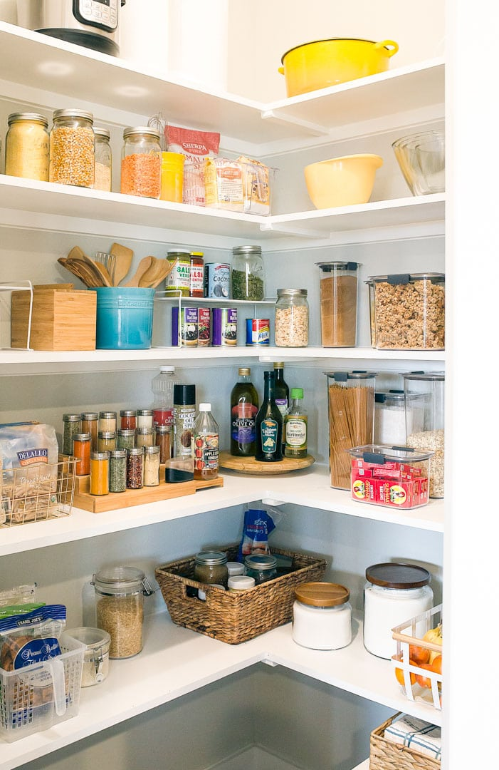 Pantry Organization Tips using Storage Containers. Before and after pics.