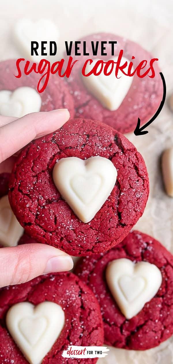 Small batch cookies: red velvet sugar cookies for Valentine's Day dessert for two.#redvelvetsugarcookies #sugarcookierecipe
