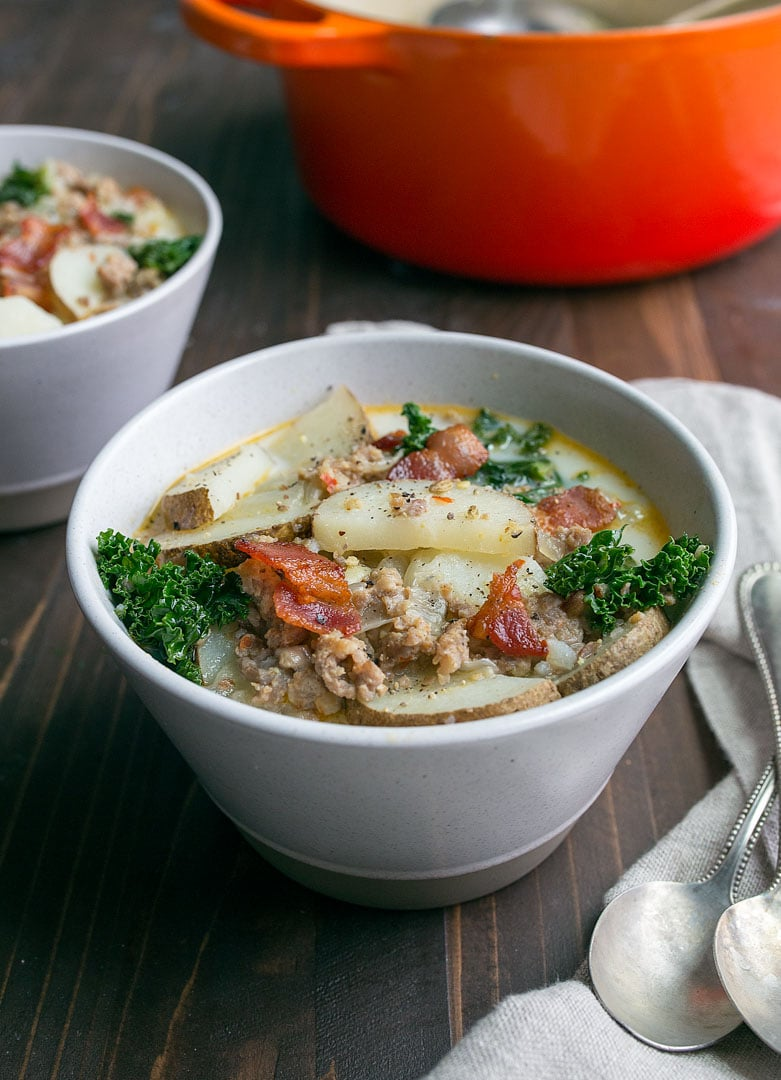 Zuppa Toscana Copycat Olive Garden recipe. Creamy potato soup with sausage, kale, bacon and cream. So easy, so delicious! Easy to modify for food allergies, too!