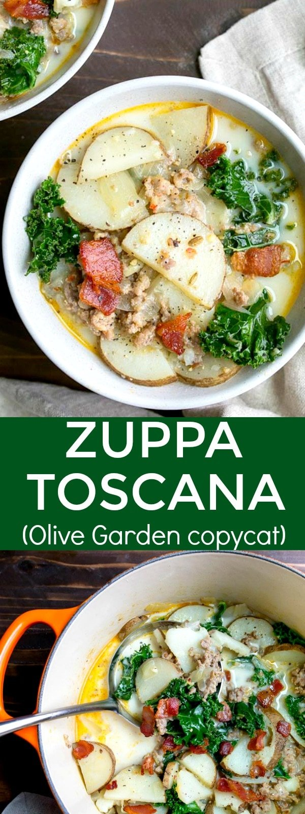 Zuppa Toscana soup recipe, a copycat Olive Garden soup with potatoes, kale, bacon, and sausage. Creamy potato soup made with bacon, sausage and kale that tastes just like Olive Garden's Zupa Toscana soup!