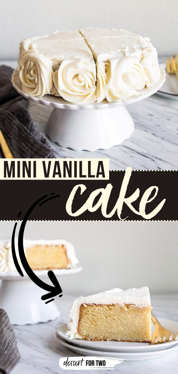 """Mini Vanilla Cake for Two people in a 6"""" small round cake pan. Vanilla buttercream roses on the sides. Small cake for two people. Anniversary cake or date night in dessert for two."""