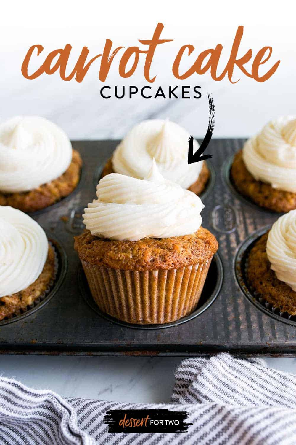 Carrot Cake Cupcakes with Cream Cheese Frosting. Small batch carrot cake recipe makes just 6 cupcakes. Perfect carrot cake cupcakes with the fluffiest pipe-able cream cheese frosting. Your Easter dessert has arrived! Easy Easter desserts. Easter Carrot Desserts.