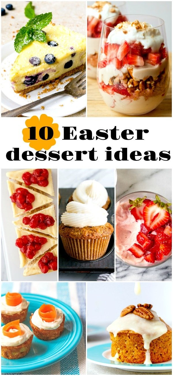 Cute Easter dessert featuring carrot cakes, strawberry desserts, blueberry desserts, and lemon desserts. #Easter #Easterdessert #carrotcake