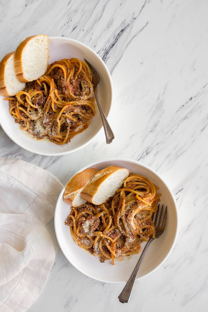 Instant Pot Spaghetti with Meat Sauce Recipe for the Instant Pot Mini 3 quart. One Pot Spaghetti with Meat Sauce. Pasta for Two.