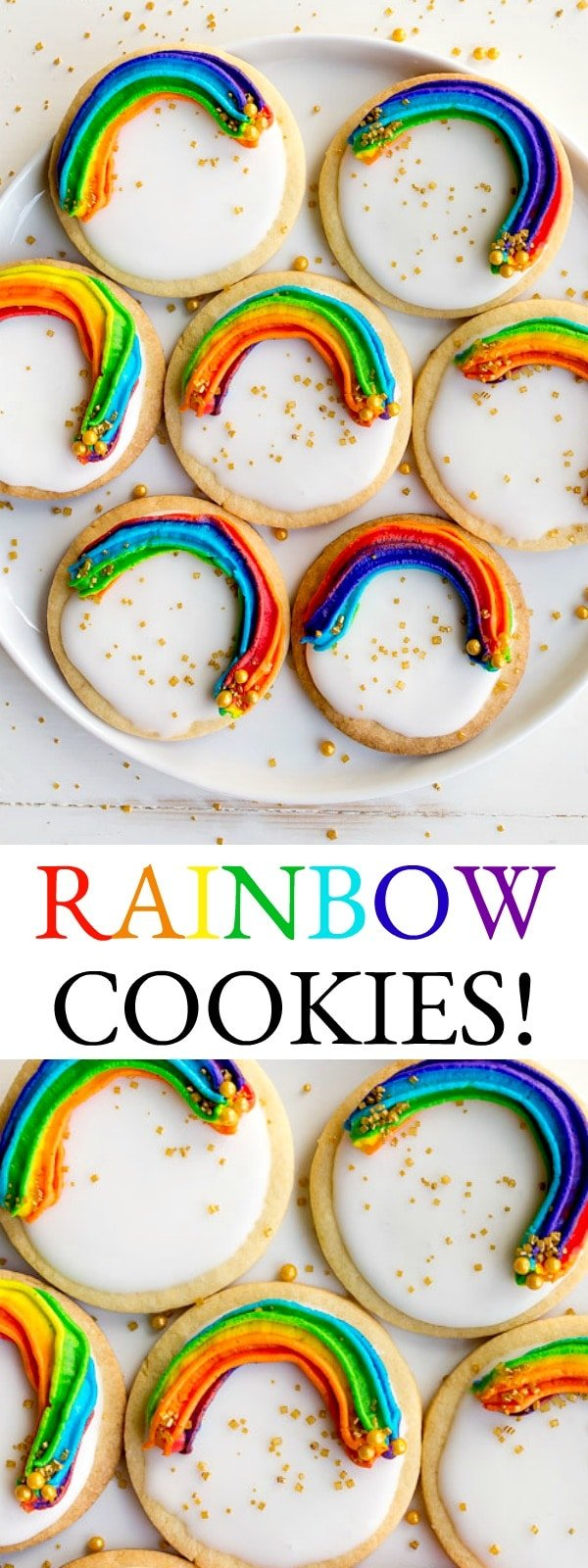 Rainbow Cookies with Rainbow Swirl Buttercream Frosting on a small batch EASY royal icing base.