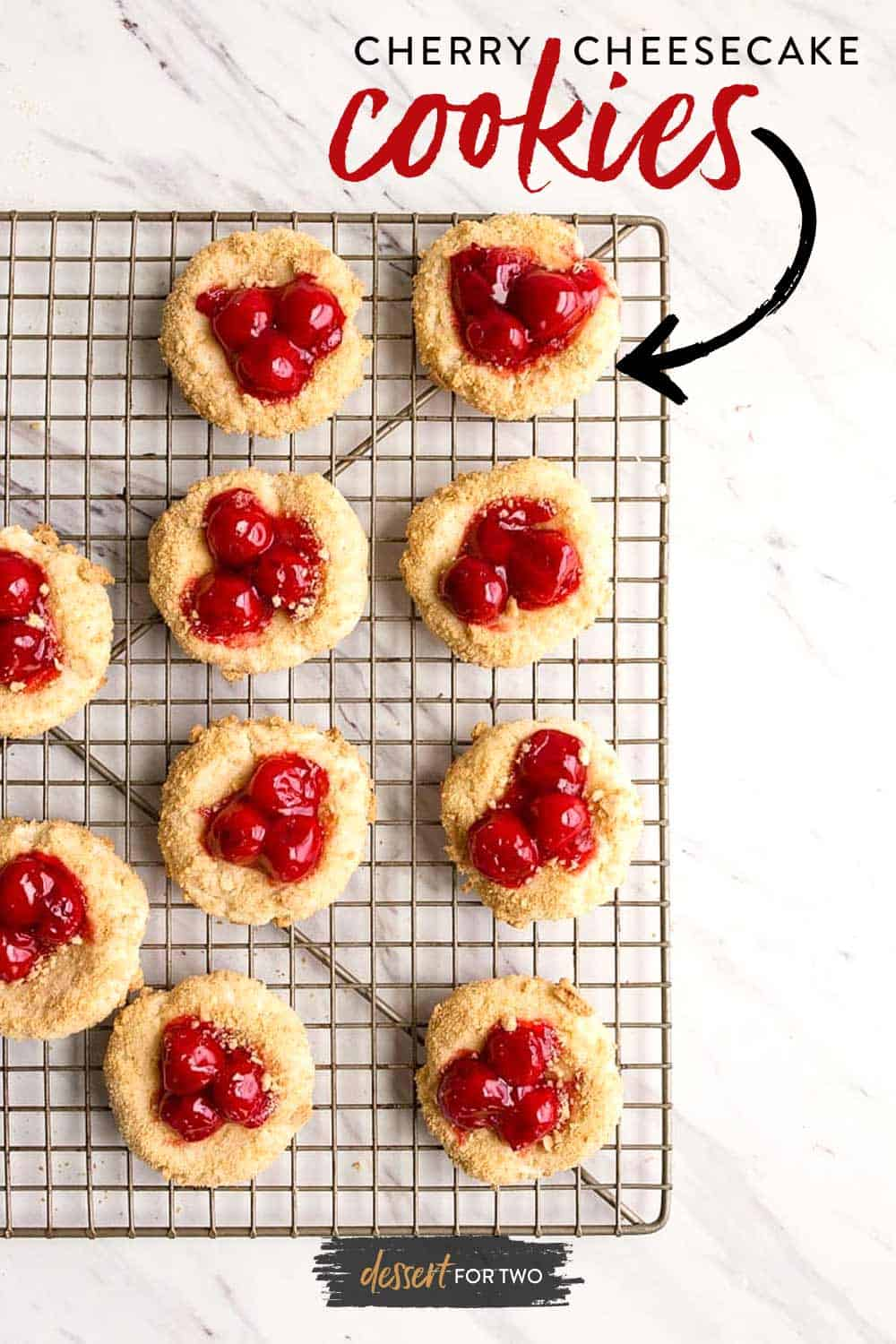 Cherry Cheesecake Cookies: cheesecake cookies rolled in graham cracker crumbs and topped with canned pie cherries. #cheesecake #cheesecakecookies #cookies #cherry #piecherries #cherries