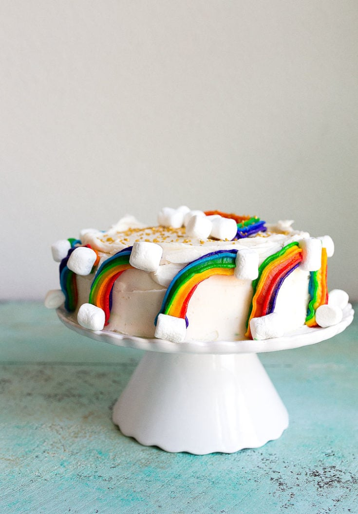 Rainbow Cake Recipe With Marshmallow Clouds And Gold