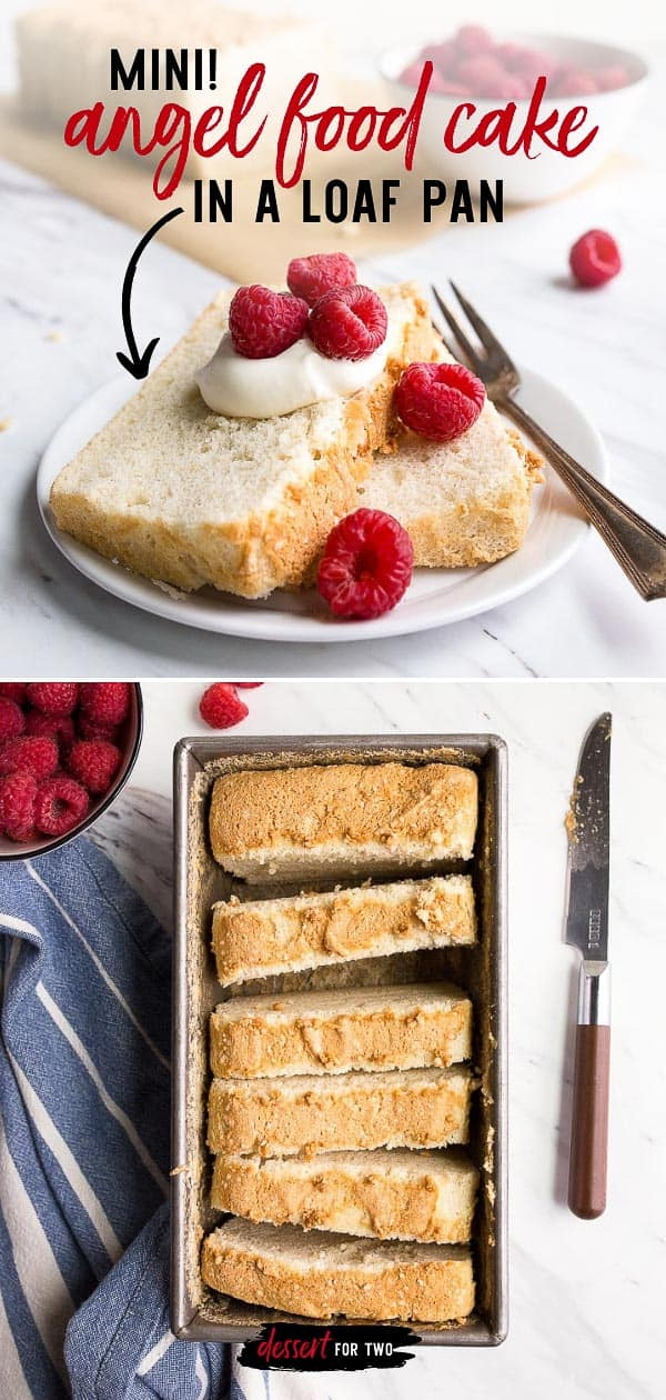 Mini Angel Food Cake in a Loaf Pan. Small angel food cake for one or two people made in a bread loaf pan that makes 8 slices. Small batch angel food cake is a great dessert using leftover egg whites! Perfect as a Spring dessert or Mother's Day dessert. #angelfood #loafpan #eggwhite