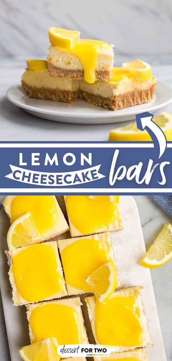 Lemon Cheesecake Bars with Lemon Curd. Cheesecake lemon bars with graham cracker crust are a fun, easy summer dessert. #lemon #lemoncurd #cheesecake #cheesecakebars #lemoncheesecake