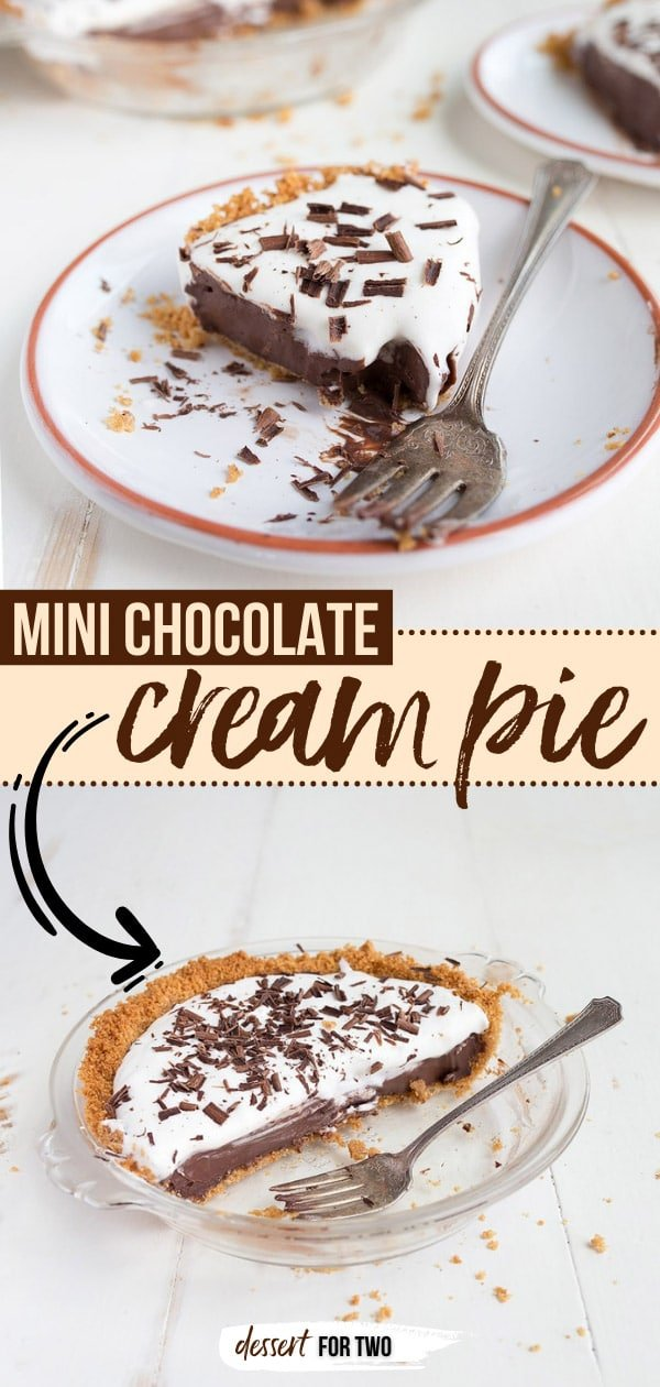 "Mini Chocolate Cream Pie for Two. Made in a small pie pan that measures 6"" across. #pie #chocolate #chocolatecream #minipie #dessertfortwo #smallbatch #smallrecipe #dessert #summerdessert #chocolatecreampie #grahamcracker #grahamcrackercrust"