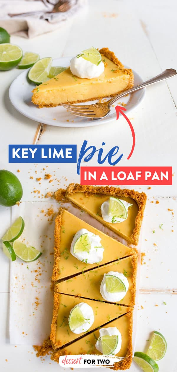 Key Lime Pie Recipe: Small batch key lime pie recipe made in a bread loaf pan to make 5 slices of pie for two. #keylimepie #smallpie #piefortwo #minipie #breadloafpan #smalldesserts #dessertfortwo