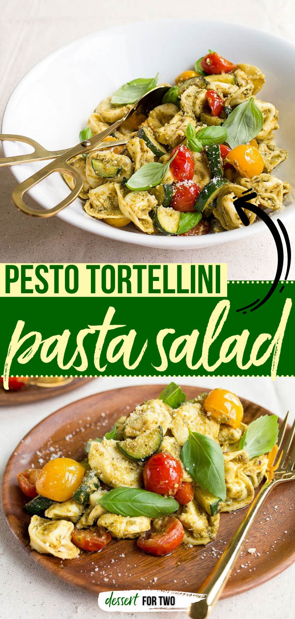 Pesto Tortellini Pasta Salad - easy dinner for two featuring cheese tortellini, zucchini, cherry tomatoes, pesto and Parmesan cheese. #pesto #pastasalad #tortellini #dinnerfortwo #dinnerideas #sidedish #vegetarian #basil #datenight