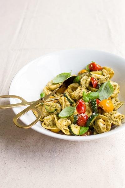 Pesto Tortellini Pasta Salad - easy dinner for two.