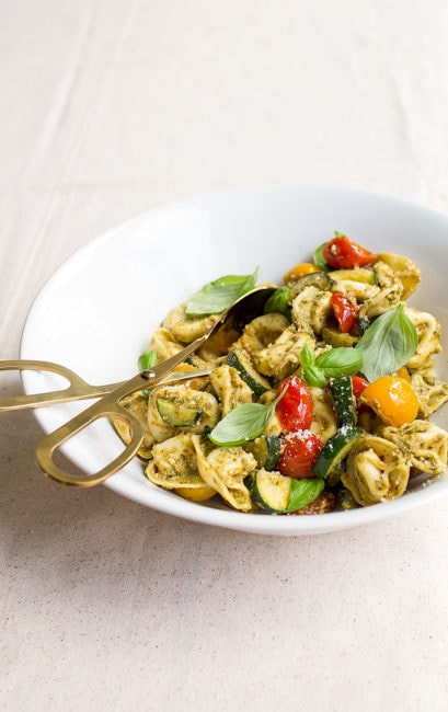 Pesto Tortellini Pasta Salad - easy dinner for two.