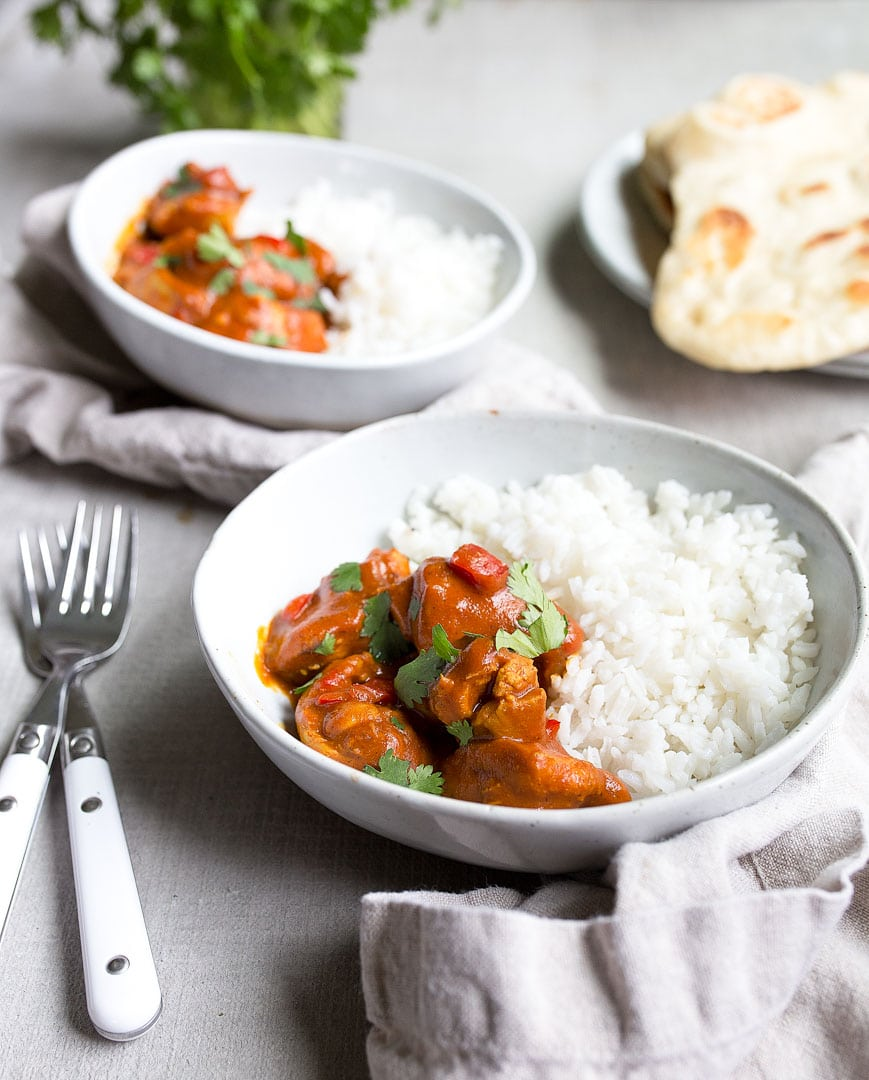 Instant Pot Indian Butter Chicken, made in the Instant Pot mini. Butter chicken made with chicken thighs in the pressure cooker.