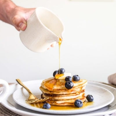 Pancakes for two. A small batch of pancakes for one or two people. Perfect, buttermilk pancakes recipe that makes just 6 pancakes.