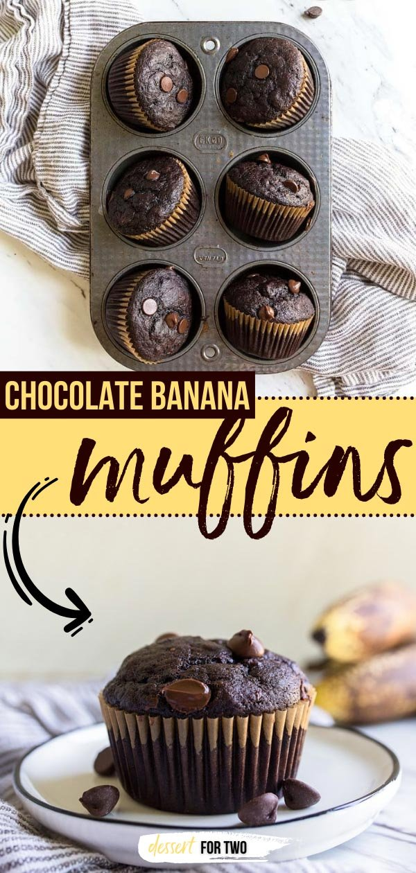 Chocolate banana muffins are a fun way to use up one lonely brown spotted banana! This small recipe makes 6 chocolate banana muffins.