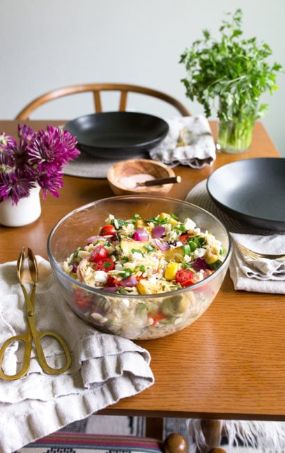Orzo Pasta Salad with Feta and Grilled Vegetables