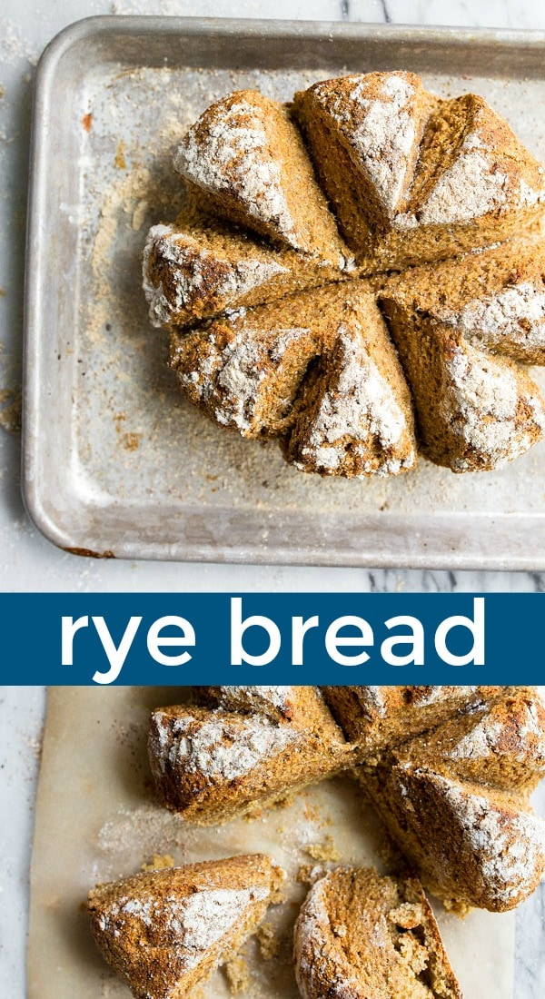 Homemade rye bread recipe. A rye bread made without yeast. Rye soda bread is so easy and so crusty and delicious! #rye #ryeflour #ryebread #sodabread #noyeast #breadwithoutyeast #easybread