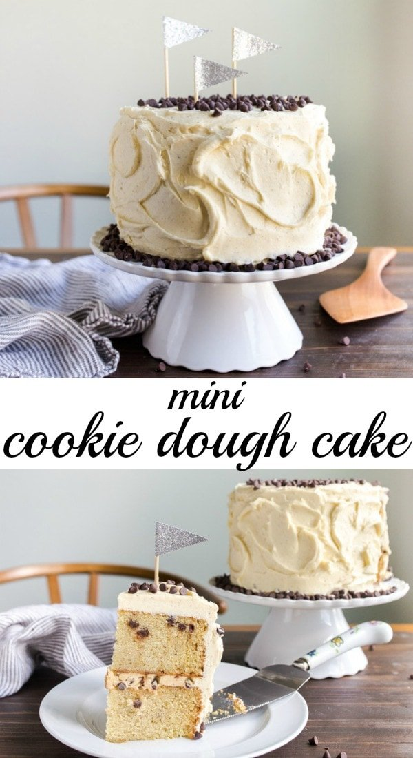 Cookie dough cake! A mini cake recipe consisting of two vanilla cake layers, a cookie dough dip filling, and vanilla bean buttercream frosting! Everything is packed with mini chocolate chips! #cookiedough #cookiedoughcake #chocolatechipcookiedough #chocolatechipcookiedoughcake #minicake #cakefortwo #smallcake #dessertfortwo #dough