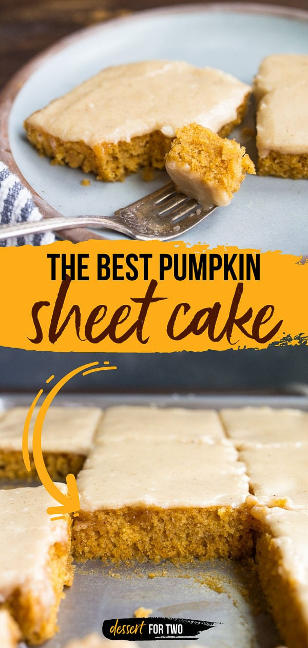 Pumpkin sheet cake made in a quarter sheet cake pan! This quarter sheet cake makes 12 small pieces of cake. Sheet cakes are so easy, and the frosting is pumpkin spice made on the stove! #sheetcake #pumpkin #pumpkindessert #pumpkincake #pumpkinsheetcake #easypumpkincake #fallcake #falldessert #leftoverpumpkin