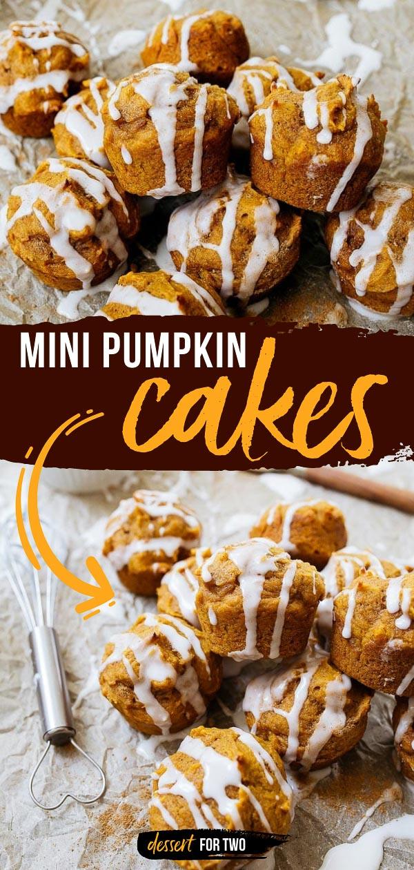 Small pumpkin muffins with glaze.