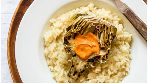 Dinner for Two: Brown Butter Risotto + Grilled Artichokes