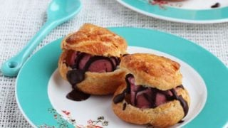 Profiteroles with Raspberry Sorbet and Chocolate Sauce