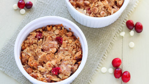 Pear Cranberry and White Chocolate Crisp