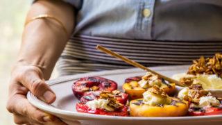 Grilled Stone Fruit + Almond Mascarpone Dip