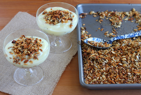 Lemon Granola with Poppy seeds. A small batch of granola with lemon zest and poppy seeds.