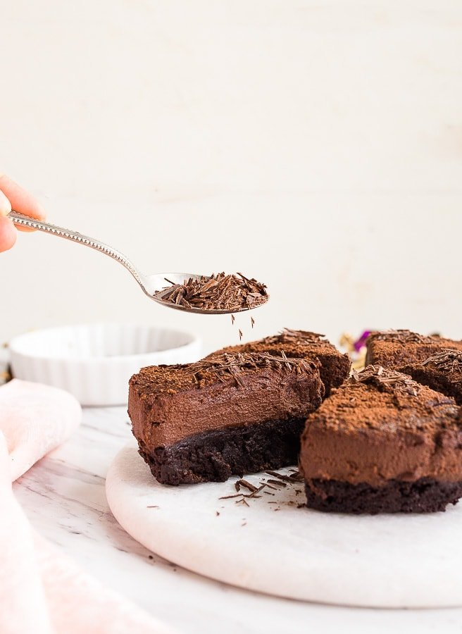 brownies topped with chocolate mousse