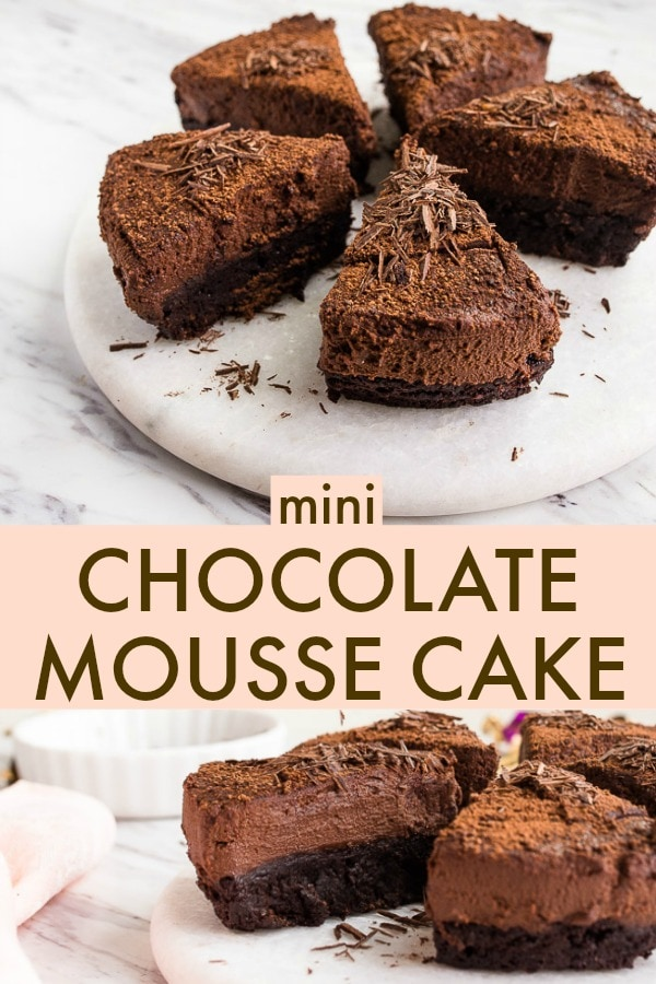 Chocolate mousse cake recipe for two. A small chocolate cake with chocolate mousse on top for two people! So romantic! #cookingfortwo #dessertfortwo #chocolate #chocolatemousse #mousse #chocolatemoussecake #chocolatemoussecakerecipe