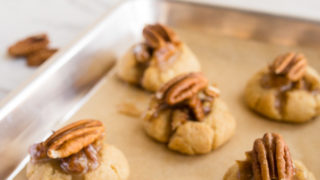 Keto Sugar Cookies with Pecan Pie Thumbprint Filling