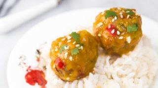 Baby Food: Mango Chicken Meatballs + Coconut Sticky Rice