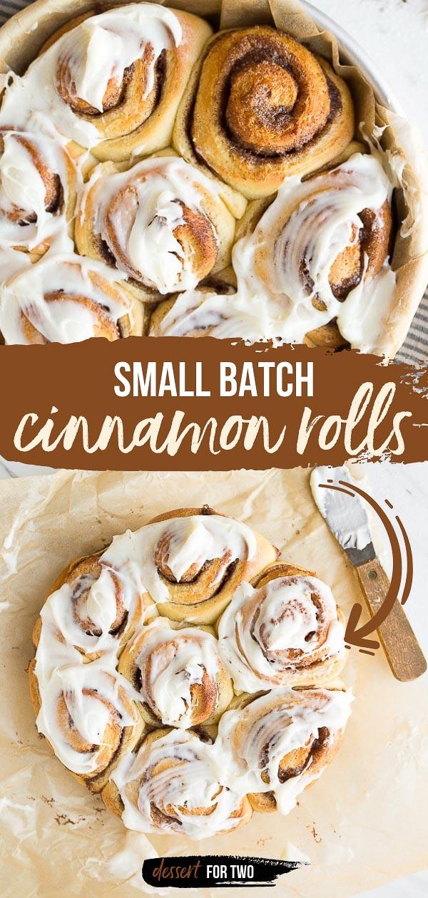 Small batch cinnamon rolls for two. One pan of cinnamon rolls, perfect for weekend mornings. #cinnamonrolls #onepan #smallbatch #cookingfortwo #overnightcinnamonrolls