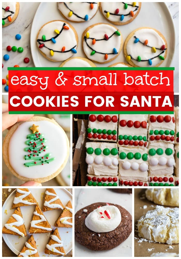 Cookies for Santa. Easy cookies for Santa, recipes that only make a few cookies! Most recipes make only 1 dozen cookies, perfect for Christmas Eve baking! #cookiesforsanta #smallbatch #cookingfortwo #cookies #easycookies #cookierecipes